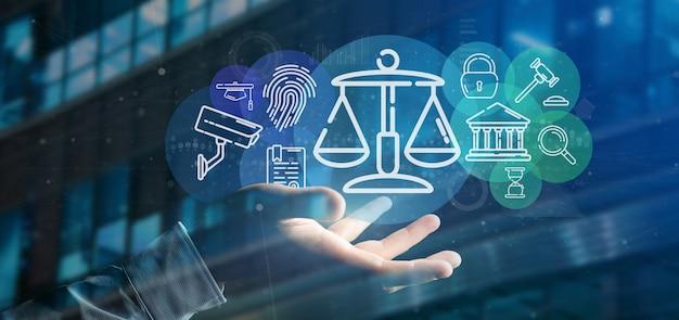 Hombre de negocios que sostiene la burbuja del icono de la nube de la justicia y de la ley con la representación 3d de los datos