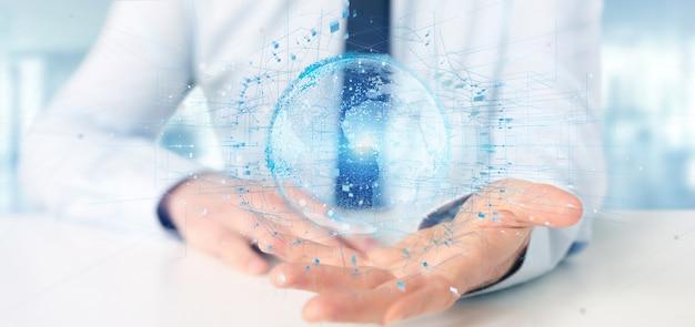 Hombre de negocios que sostiene un globo de la tierra de los datos de la representación 3d