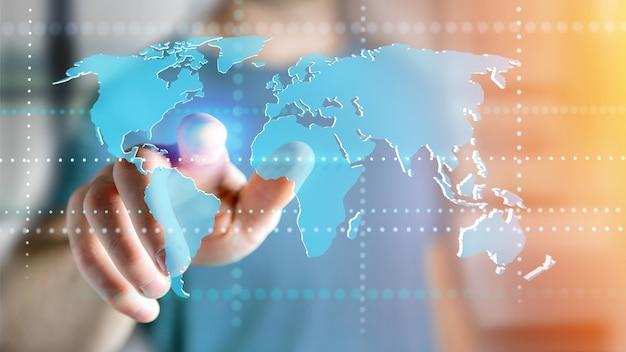 Hombre de negocios que sostiene un mapa del mundo conectado en interfaz futurista - render 3d