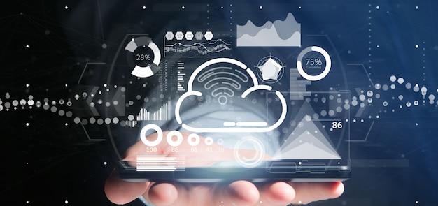 Hombre de negocios que tiene concepto de la nube y del wifi con el icono, las estadísticas y la representación 3d de los datos