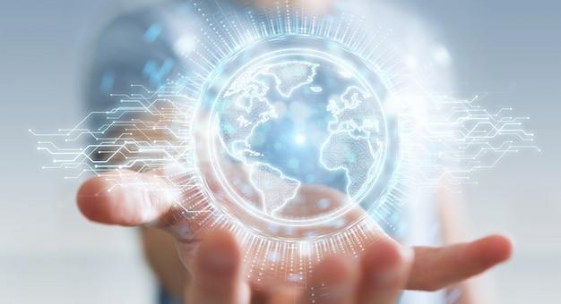 Hombre de negocios que usa el holograma de la red del globo con la representación 3d del mapa de los estados unidos