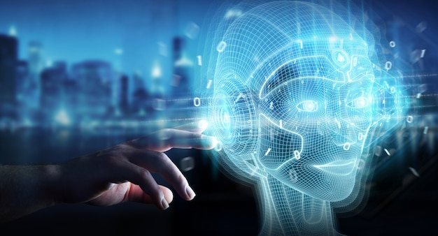 Hombre de negocios que usa la representación digital de la interfaz de la cabeza de la inteligencia artificial digital 3d