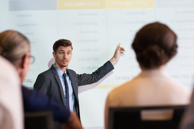 El hombre de negocios serio explicando la tabla de audiencia