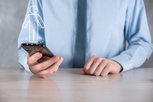 Hombre de negocios, tiene, hombre, persona, icono, en, tono oscuro, wall., humano, recursos humanos, gente, icon