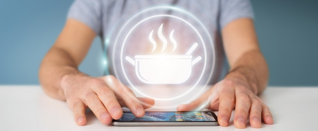 Hombre de negocios usando la aplicación para pedir comida casera renderizado 3d en línea