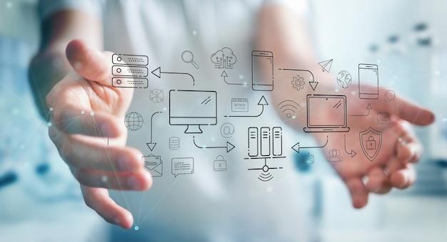 Hombre de negocios usando dispositivos de tecnología e iconos interfaz de línea delgada