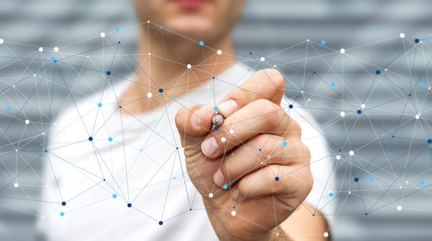 Hombre de negocios usando red de datos digitales con una pluma