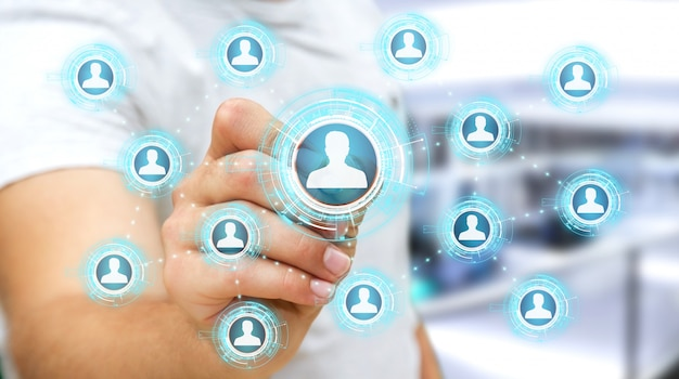 Hombre de negocios usando la representación azul de la red social 3d