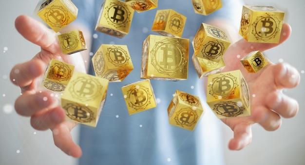 Hombre de negocios usando la representación de bitcoins cryptocurrency 3d