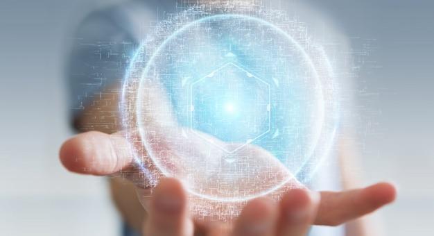 Hombre de negocios usando la representación digital del holograma 3d de la conexión de la esfera