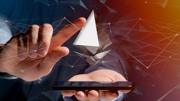Hombre de negocios usando un teléfono inteligente con una señal de criptomoneda ethereum volando alrededor de una conexión de red