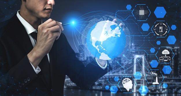 Hombre de negocios, utilizar, holograma, de, conexión de red