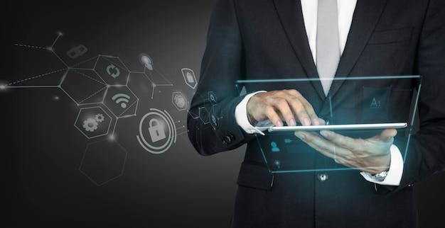 Hombre de negocios, utilizar, un, tableta digital