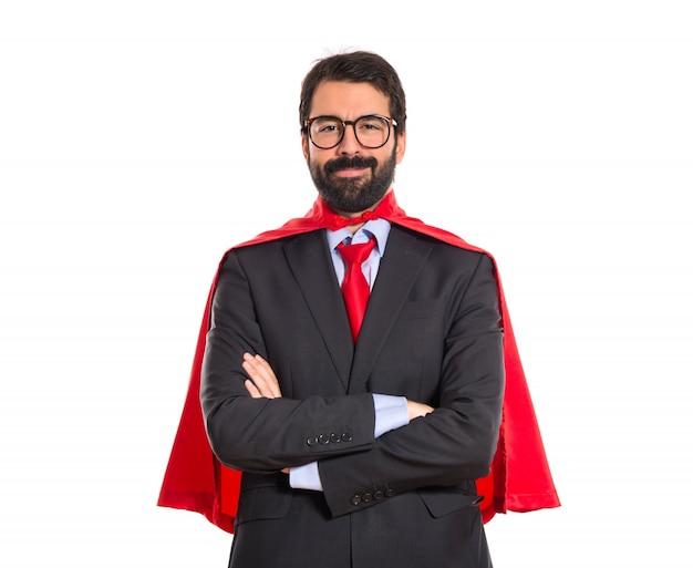 Hombre de negocios vestido como superhéroe