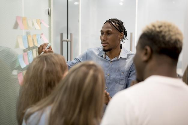 Hombre en la oficina dando presentación a personas usando notas adhesivas