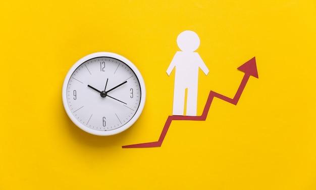 Hombre de papel en reloj y flecha de crecimiento