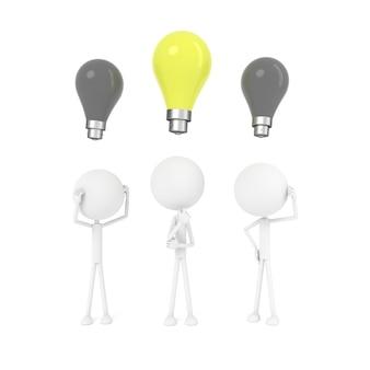 El hombre piensa y tiene el concepto de idea. representación 3d
