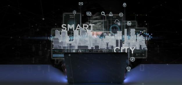 Hombre pirata informático con interfaz de usuario de ciudad inteligente con representación 3d de iconos, estadísticas y datos