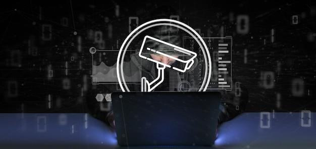 Hombre pirata informático que contiene el icono del sistema de la cámara de seguridad y datos estadísticos - representación 3d