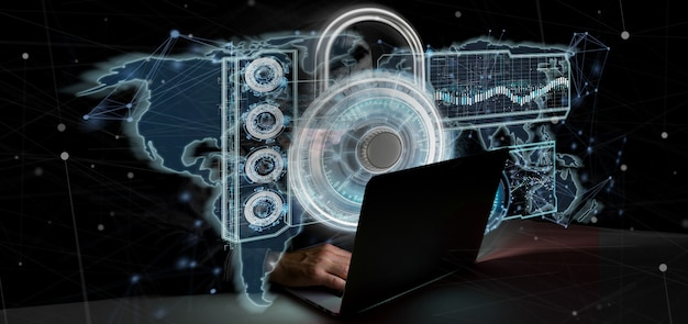 Hombre del pirata informático que lleva a cabo una representación 3d del concepto de la seguridad del web del candado