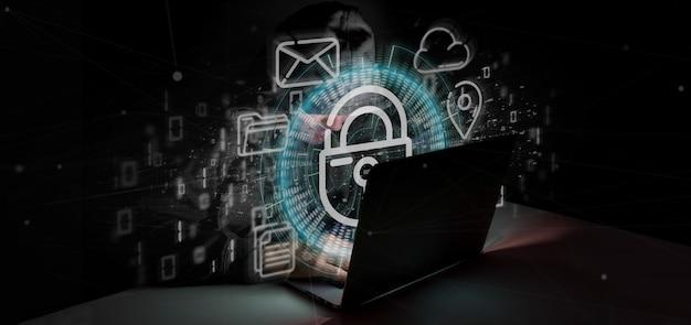 Hombre pirateando un ícono de rueda de candado de seguridad con multimedia y representación en 3d del icono de redes sociales