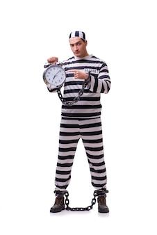 Hombre prisionero con reloj aislado en blanco