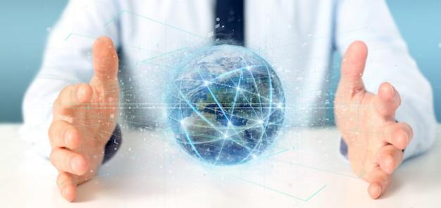 Hombre que sostiene connectionround una representación 3d aislada del globo del mundo