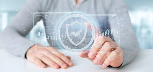 Hombre que sostiene una representación 3d del concepto de seguridad web shield