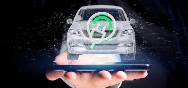 Hombre que sostiene una representación 3d del concepto smartcar eléctrico