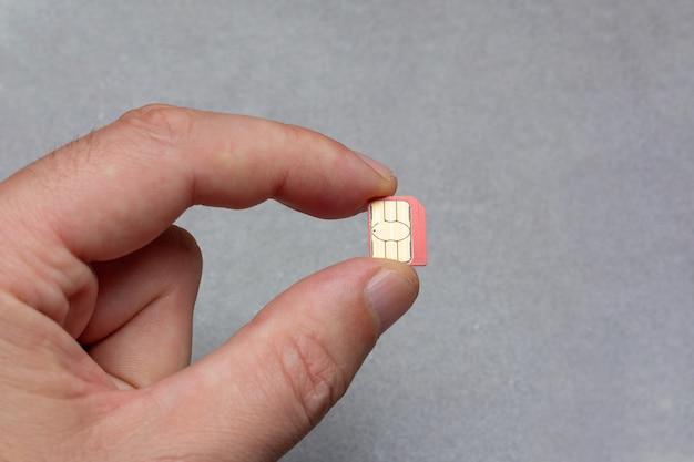 Hombre que sostiene la tarjeta micro sim de los dedos sobre fondo gris con espacio de copia