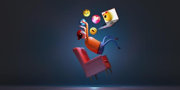 El hombre que usa la computadora portátil se conecta a internet flotando en el aire con iconos de emoción