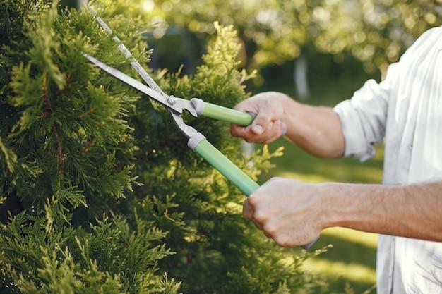 Hombre recortando la rama del cepillo. guy trabaja en un patio trasero.
