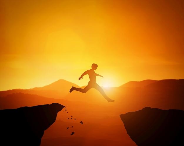 Hombre saltando de una roca a otra. paisaje de montañas al atardecer