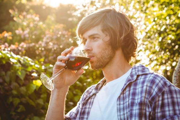 Hombre serio bebiendo vino tinto en el jardín