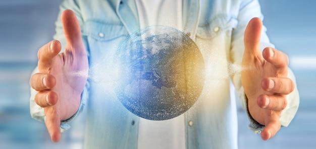 Hombre sosteniendo un globo terráqueo de partículas 3d