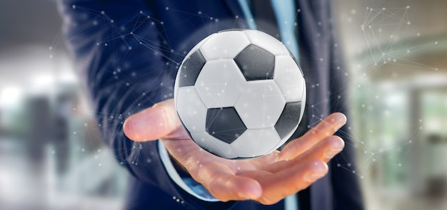 Hombre sosteniendo una pelota de fútbol y conexión aislada representación 3d