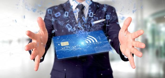 Hombre sosteniendo una tarjeta de crédito sin contacto pago concepto renderizado 3d