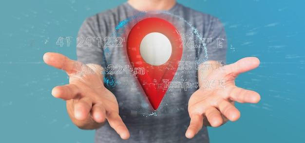 Hombre sujetando un soporte de pin de representación 3d en un globo con coordenadas