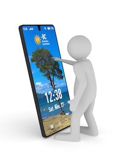Hombre y teléfono sobre fondo blanco. ilustración 3d aislada