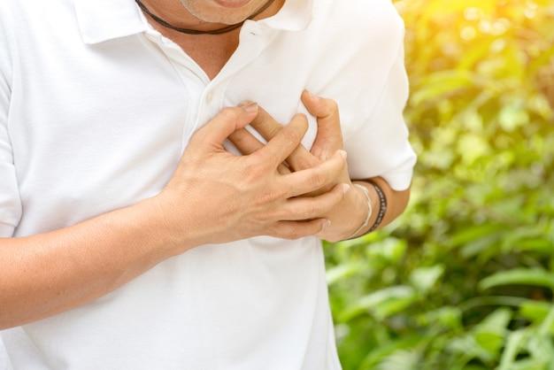 Hombre teniendo un ataque al corazón.
