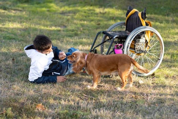 Hombre de tiro completo jugando con perro en el césped