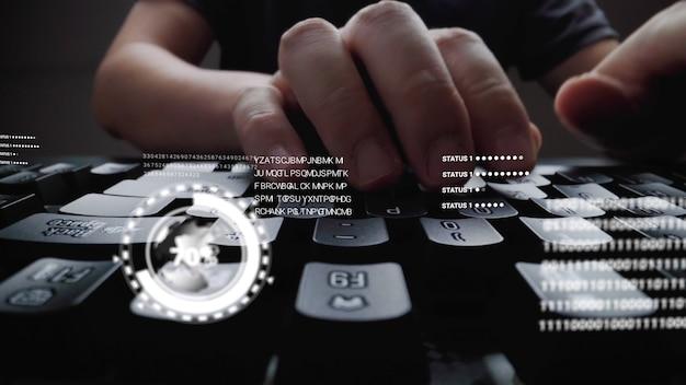 Hombre trabajando en el teclado de la computadora portátil con holograma gui de interfaz gráfica de usuario