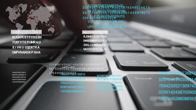 Hombre trabajando en el teclado de la computadora portátil con interfaz gráfica de usuario
