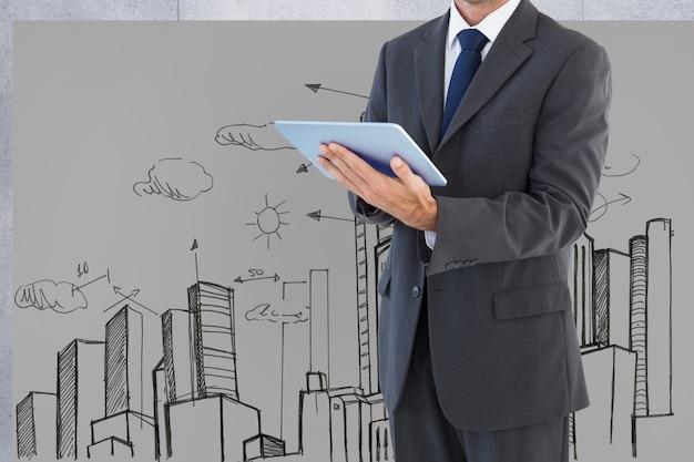 Hombre con traje con una tableta y fondo de una ciudad dibujada
