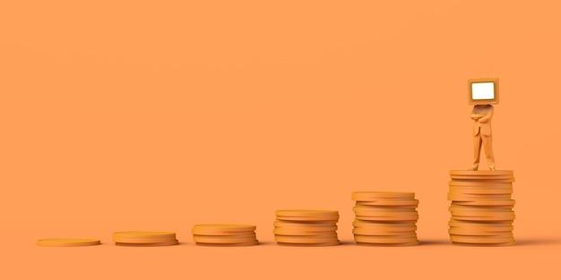 Hombre con una vieja televisión en lugar de una cabeza encima de una pila de monedas el espacio de copia de negocios de medios