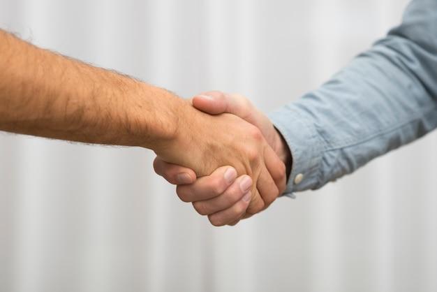 Hombres dándose la mano en la habitación.