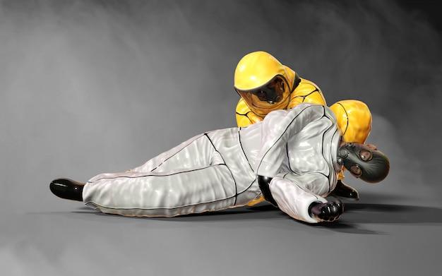 Hombres de la ilustración 3d, en trajes amarillos y blancos protectores contra el riesgo biológico del virus que se ayudan mutuamente en la situación del brote del virus corona o covid-19, aislado sobre fondo oscuro, con trazado de recorte