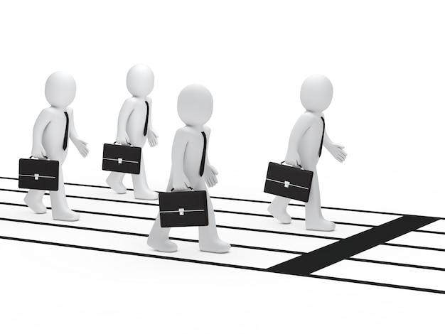 Hombres de negocios con maletines preparados para la competición