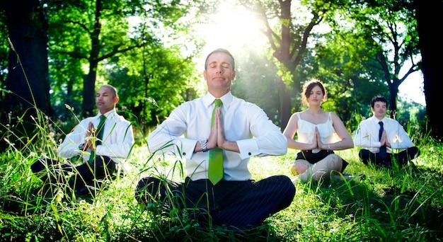 Hombres de negocios que meditan concepto de la relajación de la naturaleza