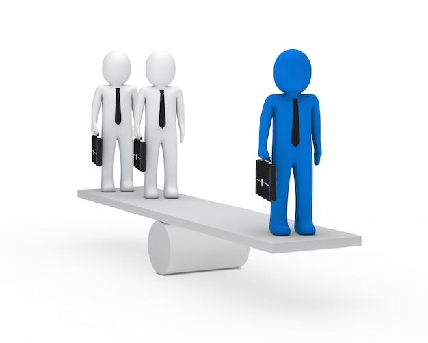Hombres de negocios usando un sube y baja